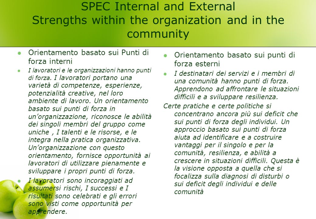 SPEC Internal and External Strengths within the organization and in the community