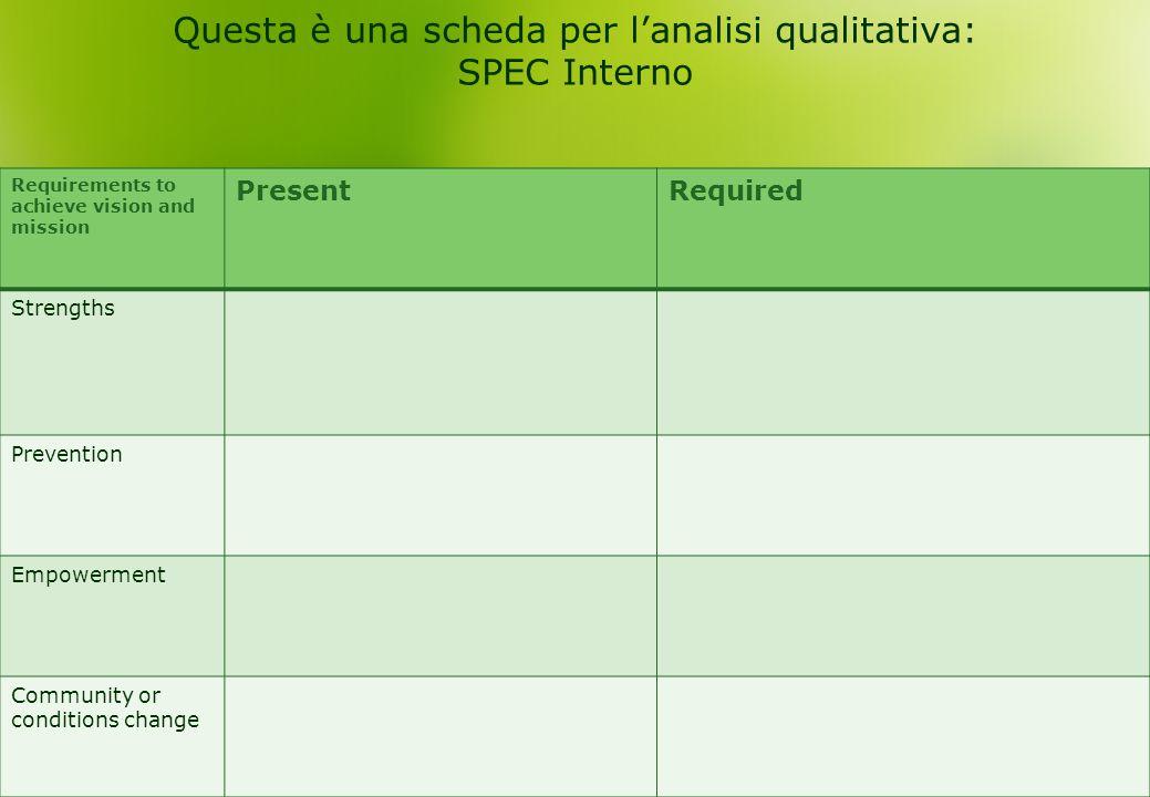 Questa è una scheda per l'analisi qualitativa: SPEC Interno