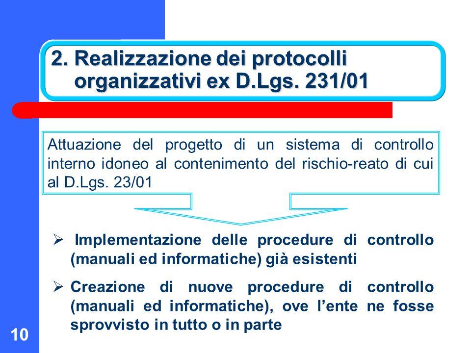2. Realizzazione dei protocolli organizzativi ex D.Lgs. 231/01