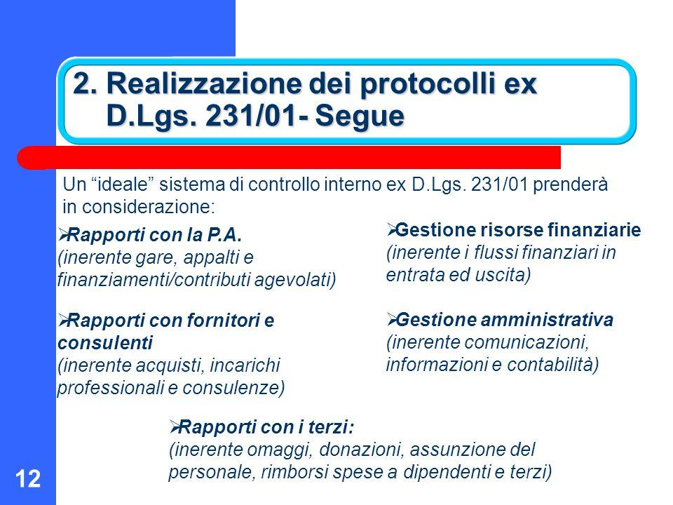 2. Realizzazione dei protocolli ex D.Lgs. 231/01- Segue