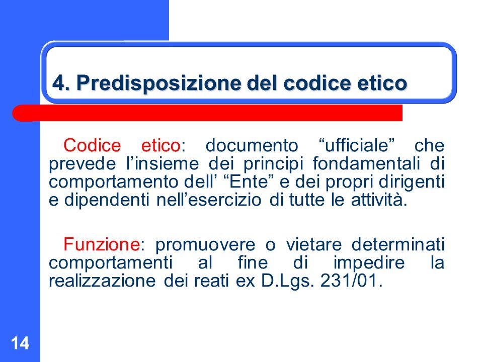 4. Predisposizione del codice etico