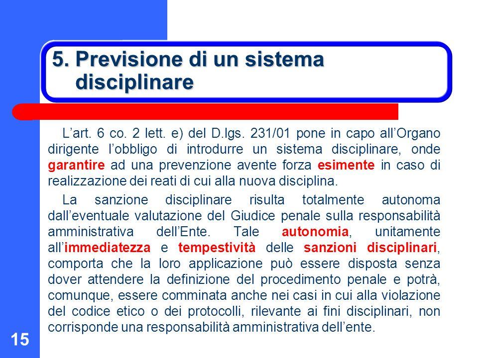5. Previsione di un sistema disciplinare