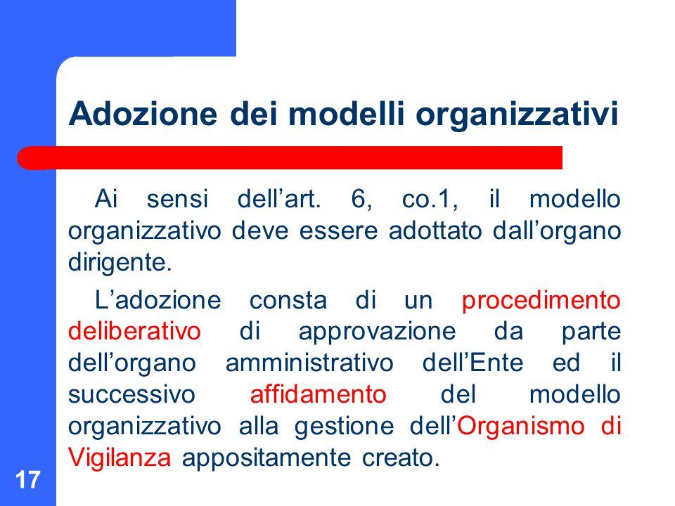 Adozione dei modelli organizzativi