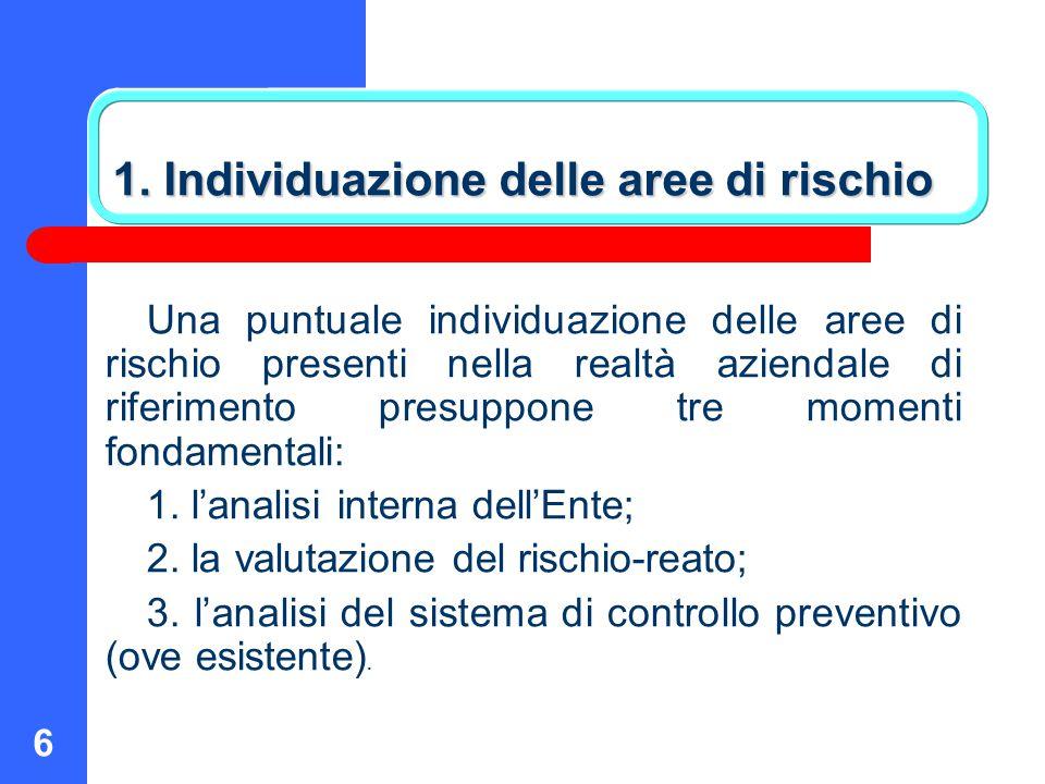 1. Individuazione delle aree di rischio