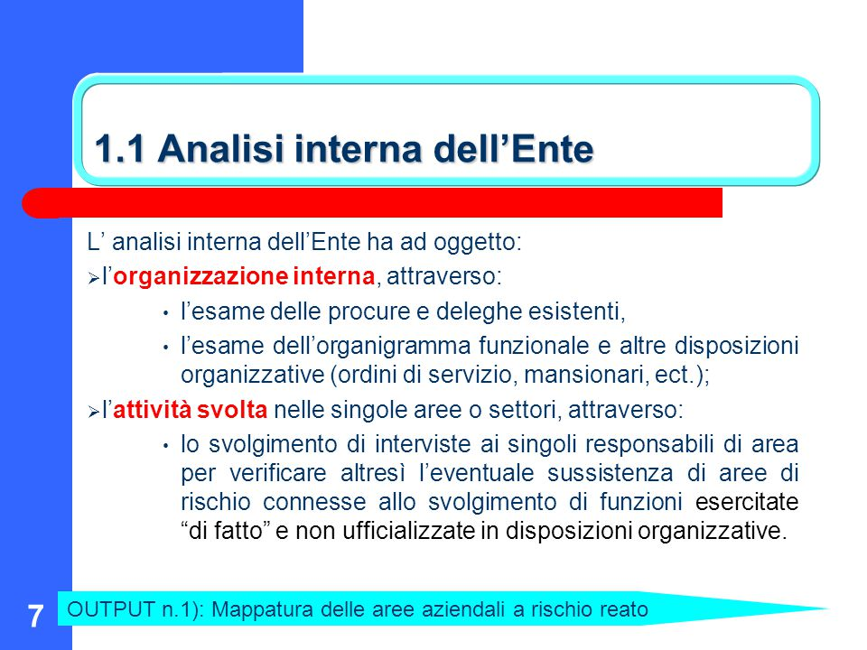 1.1 Analisi interna dell'Ente