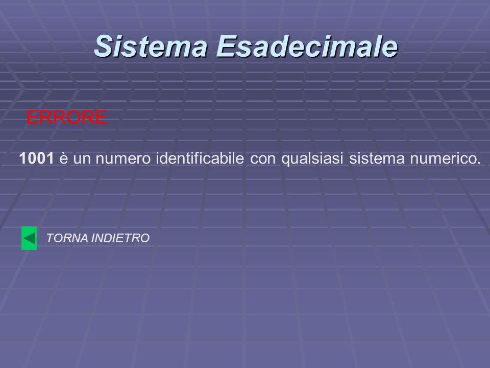 Sistema Esadecimale ERRORE