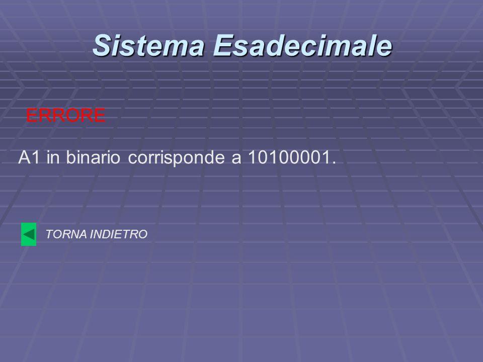 Sistema Esadecimale ERRORE A1 in binario corrisponde a 10100001.