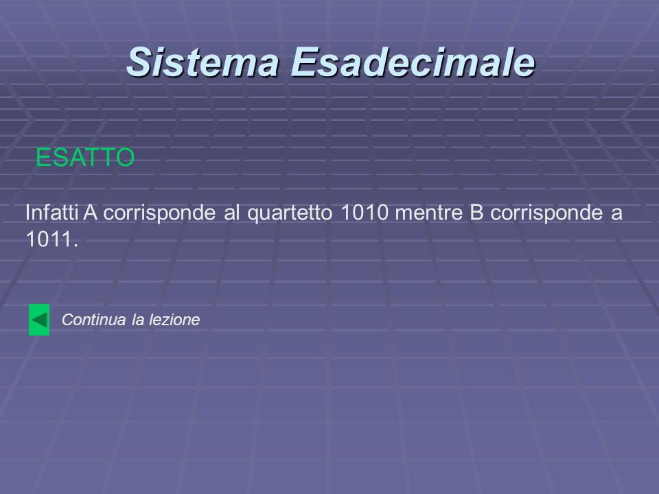 Sistema Esadecimale ESATTO