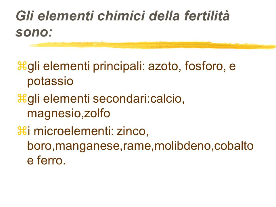 Gli elementi chimici della fertilità sono: