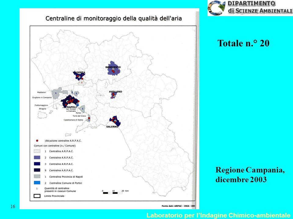 Totale n.° 20 Regione Campania, dicembre 2003