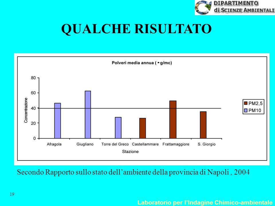 QUALCHE RISULTATO Secondo Rapporto sullo stato dell'ambiente della provincia di Napoli , 2004