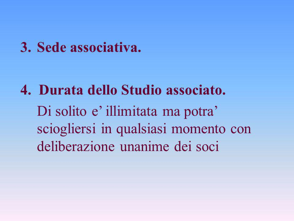 Sede associativa. 4. Durata dello Studio associato.