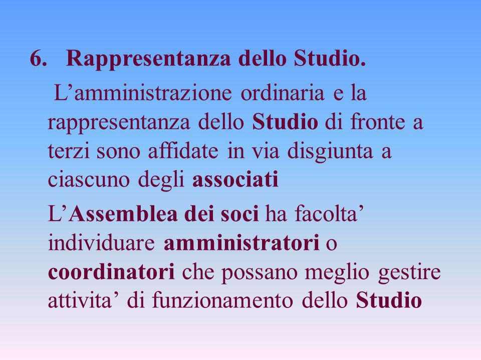 6. Rappresentanza dello Studio