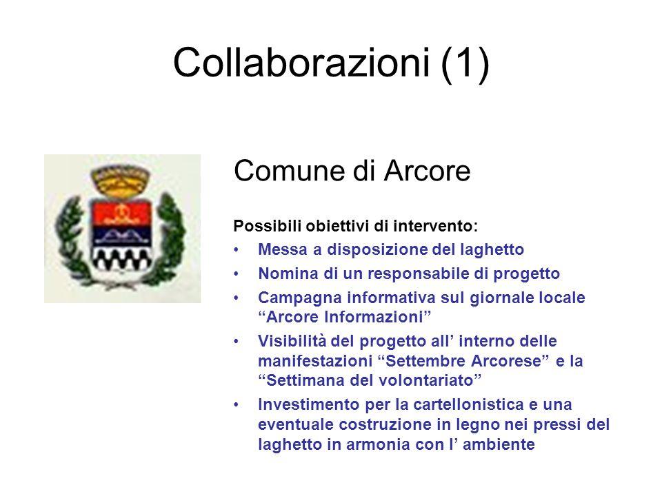 Collaborazioni (1) Comune di Arcore Possibili obiettivi di intervento:
