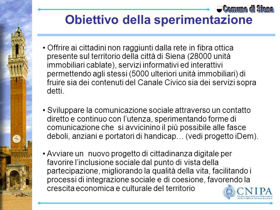 Obiettivo della sperimentazione Comune di Siena