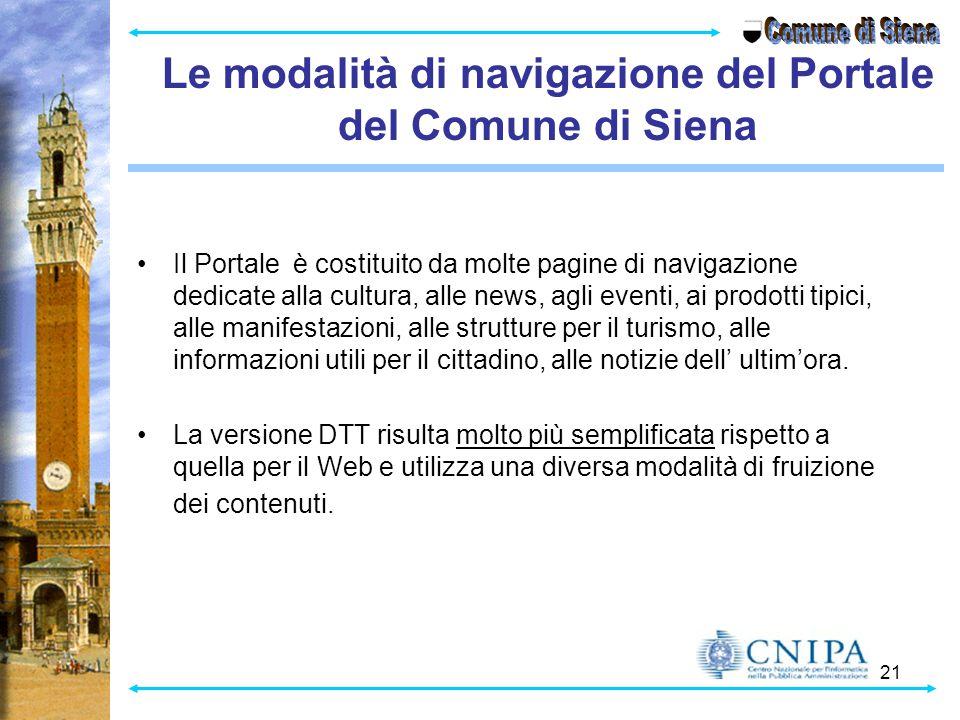 Le modalità di navigazione del Portale del Comune di Siena