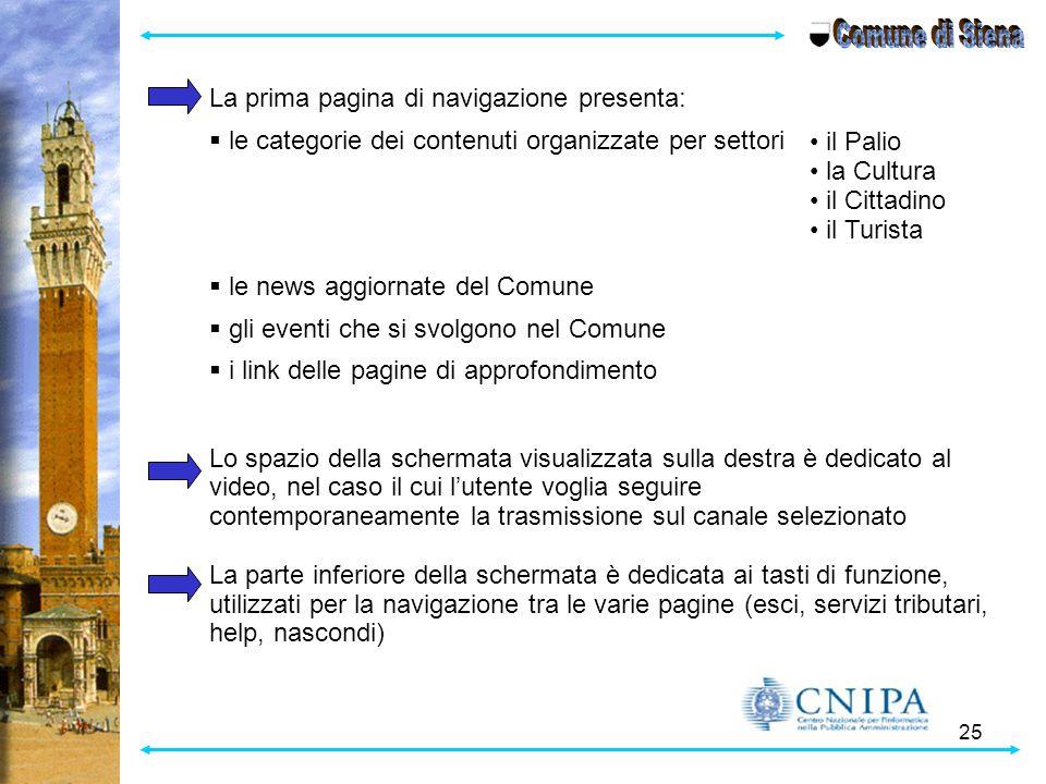 Comune di Siena La prima pagina di navigazione presenta: