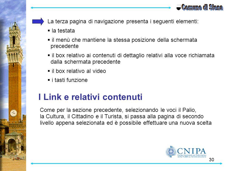 Comune di Siena I Link e relativi contenuti