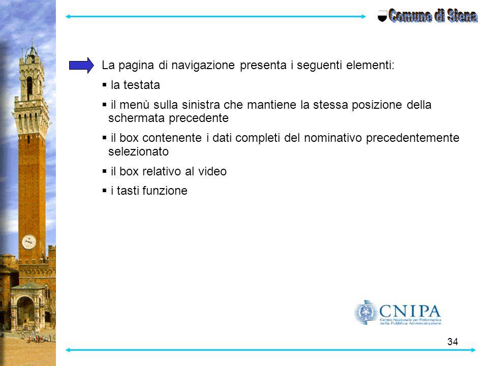 Comune di Siena La pagina di navigazione presenta i seguenti elementi: