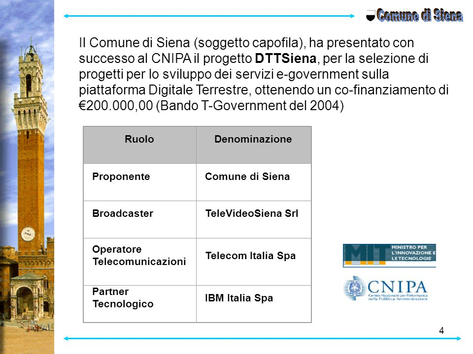 Comune di Siena Il Comune di Siena (soggetto capofila), ha presentato con successo al CNIPA il progetto DTTSiena, per la selezione di.