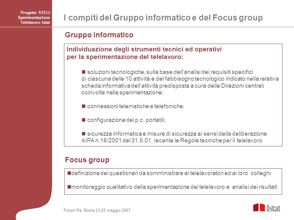 I compiti del Gruppo informatico e del Focus group