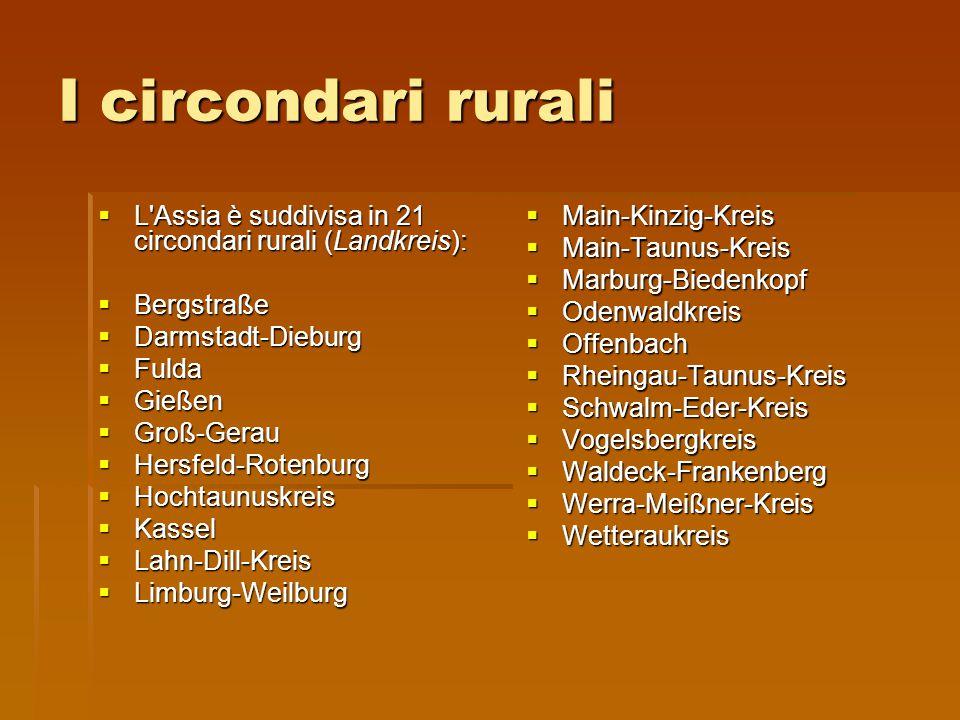 I circondari rurali L Assia è suddivisa in 21 circondari rurali (Landkreis): Bergstraße. Darmstadt-Dieburg.