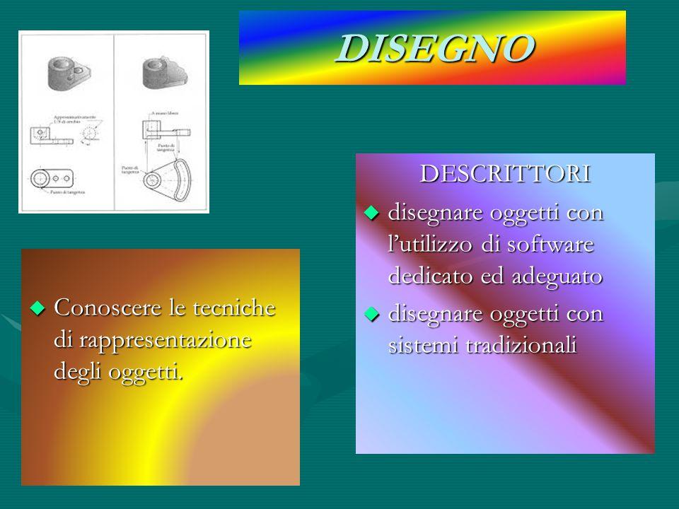 DISEGNO DESCRITTORI. disegnare oggetti con l'utilizzo di software dedicato ed adeguato. disegnare oggetti con sistemi tradizionali.