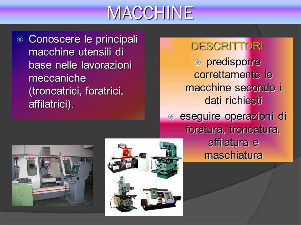 MACCHINE Conoscere le principali macchine utensili di base nelle lavorazioni meccaniche (troncatrici, foratrici, affilatrici).