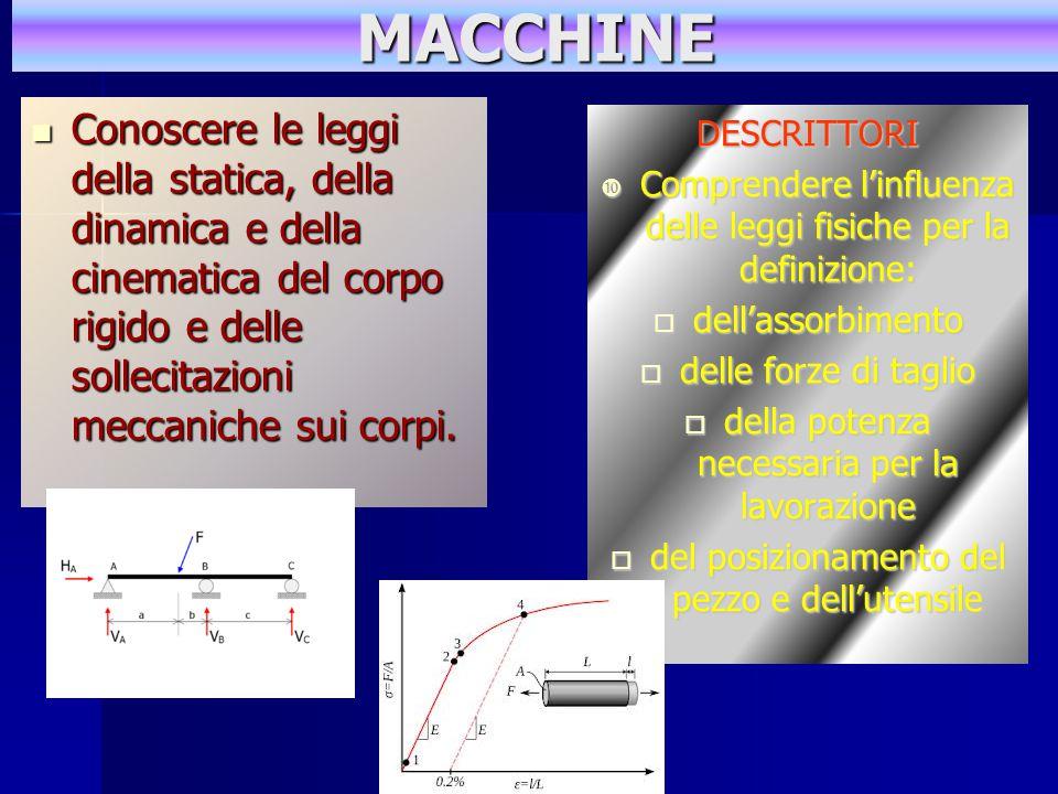MACCHINE Conoscere le leggi della statica, della dinamica e della cinematica del corpo rigido e delle sollecitazioni meccaniche sui corpi.
