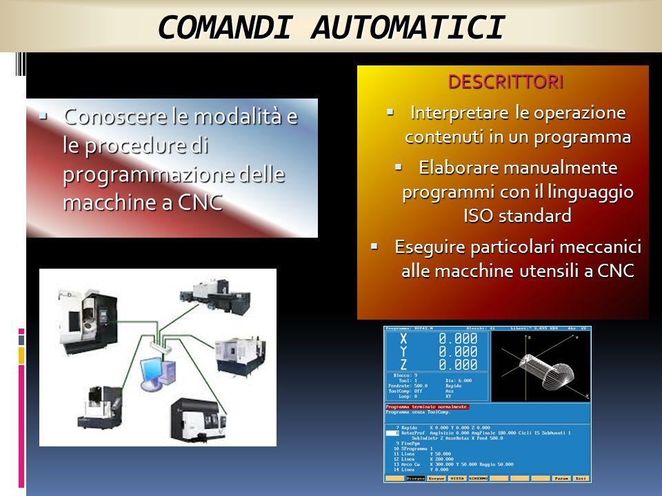 COMANDI AUTOMATICI DESCRITTORI. Interpretare le operazione contenuti in un programma.