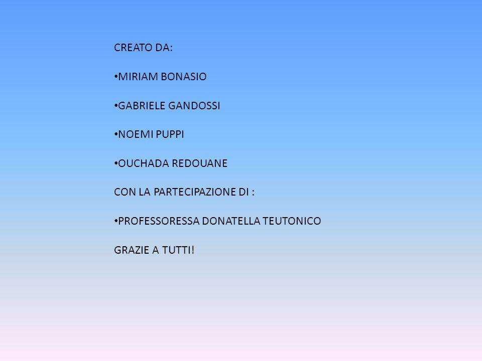 CREATO DA: MIRIAM BONASIO. GABRIELE GANDOSSI. NOEMI PUPPI. OUCHADA REDOUANE. CON LA PARTECIPAZIONE DI :