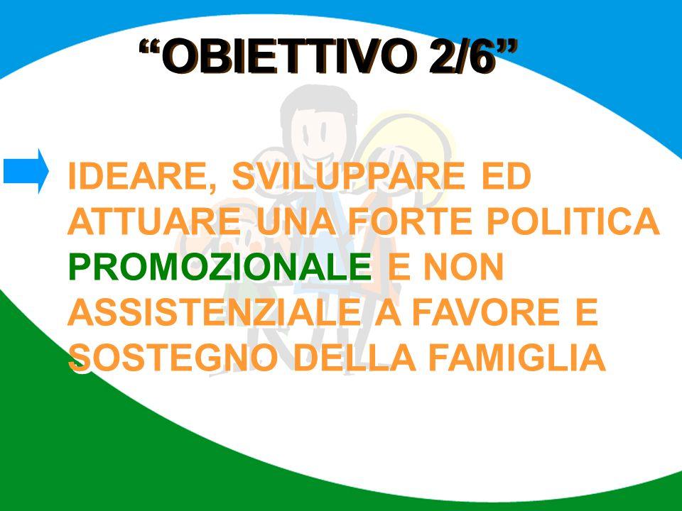OBIETTIVO 2/6 IDEARE, SVILUPPARE ED ATTUARE UNA FORTE POLITICA PROMOZIONALE E NON ASSISTENZIALE A FAVORE E SOSTEGNO DELLA FAMIGLIA.