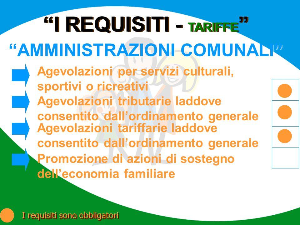 I REQUISITI - TARIFFE AMMINISTRAZIONI COMUNALI