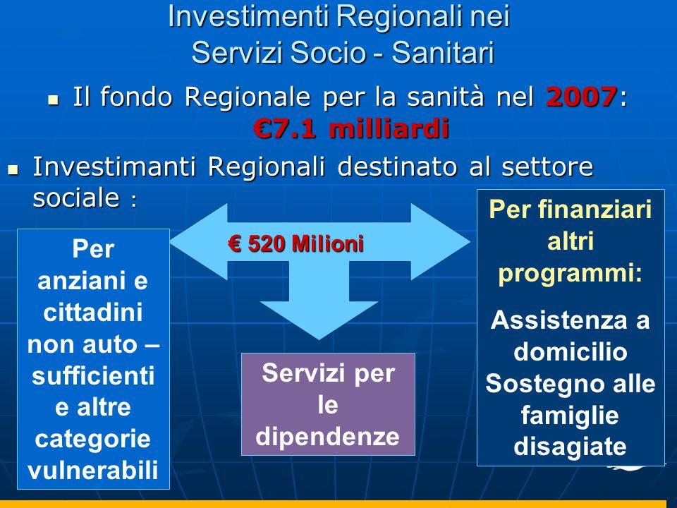 Investimenti Regionali nei Servizi Socio - Sanitari