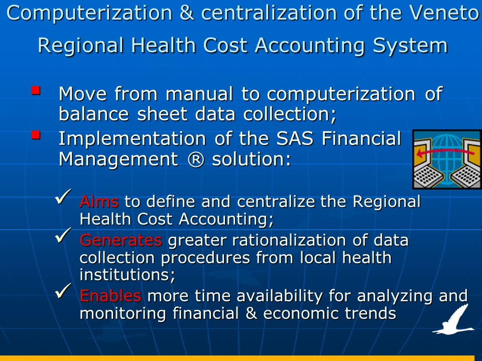 Computerization & centralization of the Veneto Regional Health Cost Accounting System