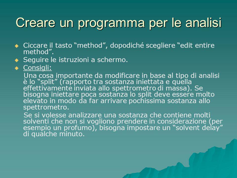 Creare un programma per le analisi