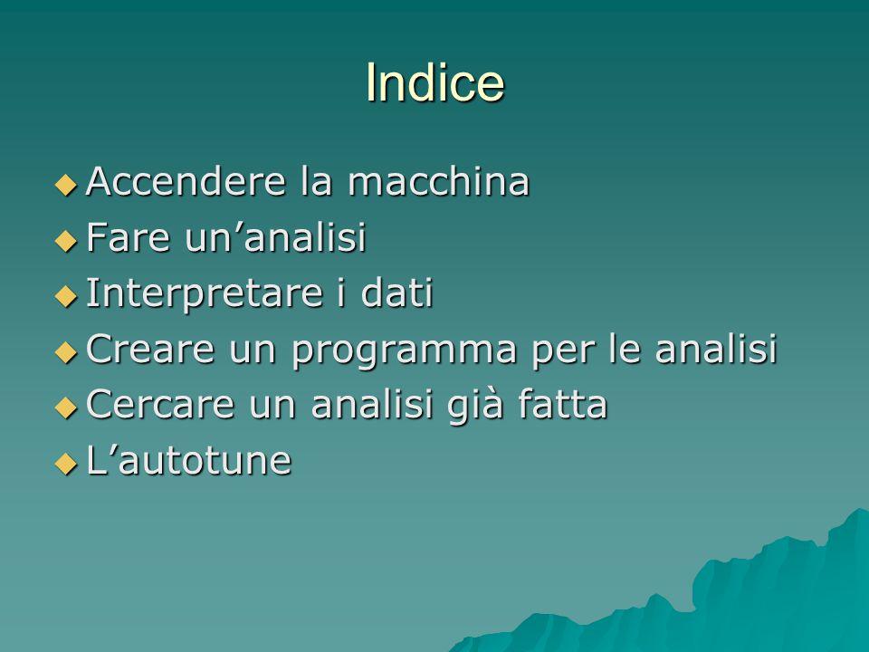 Indice Accendere la macchina Fare un'analisi Interpretare i dati