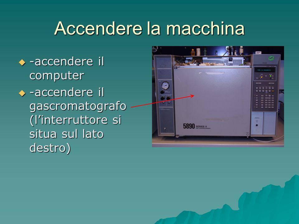 Accendere la macchina -accendere il computer