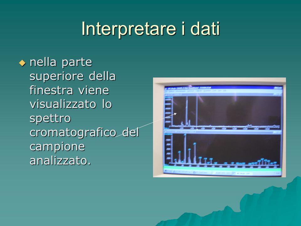 Interpretare i dati nella parte superiore della finestra viene visualizzato lo spettro cromatografico del campione analizzato.