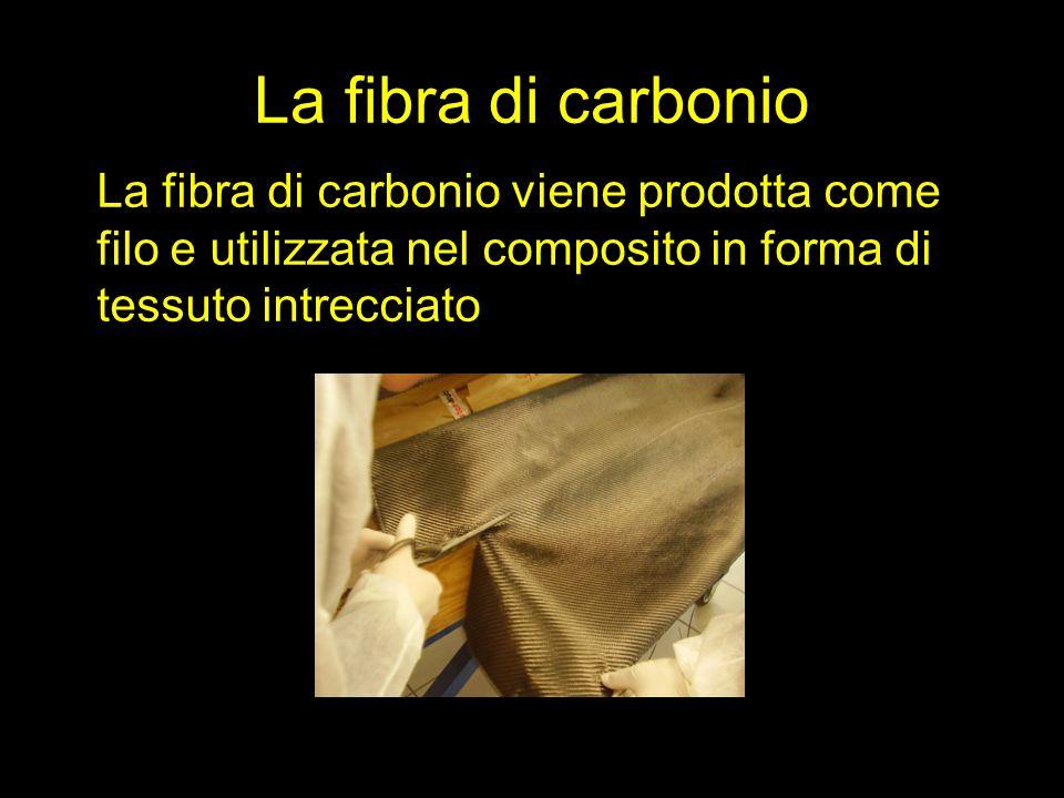 La fibra di carbonio La fibra di carbonio viene prodotta come filo e utilizzata nel composito in forma di tessuto intrecciato.