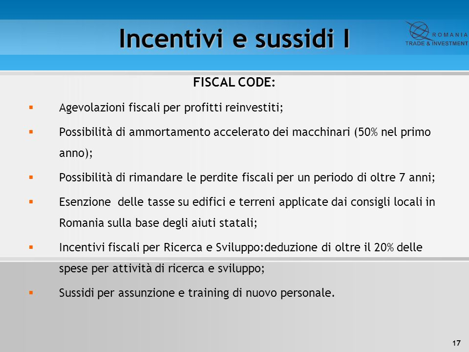 Incentivi e sussidi I FISCAL CODE: