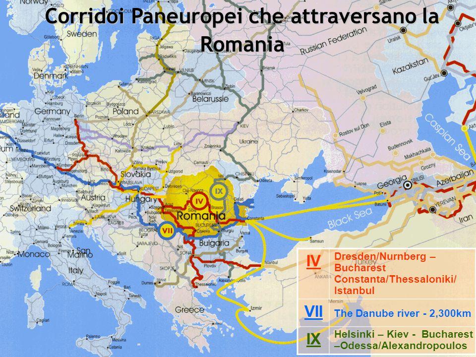 Corridoi Paneuropei che attraversano la Romania