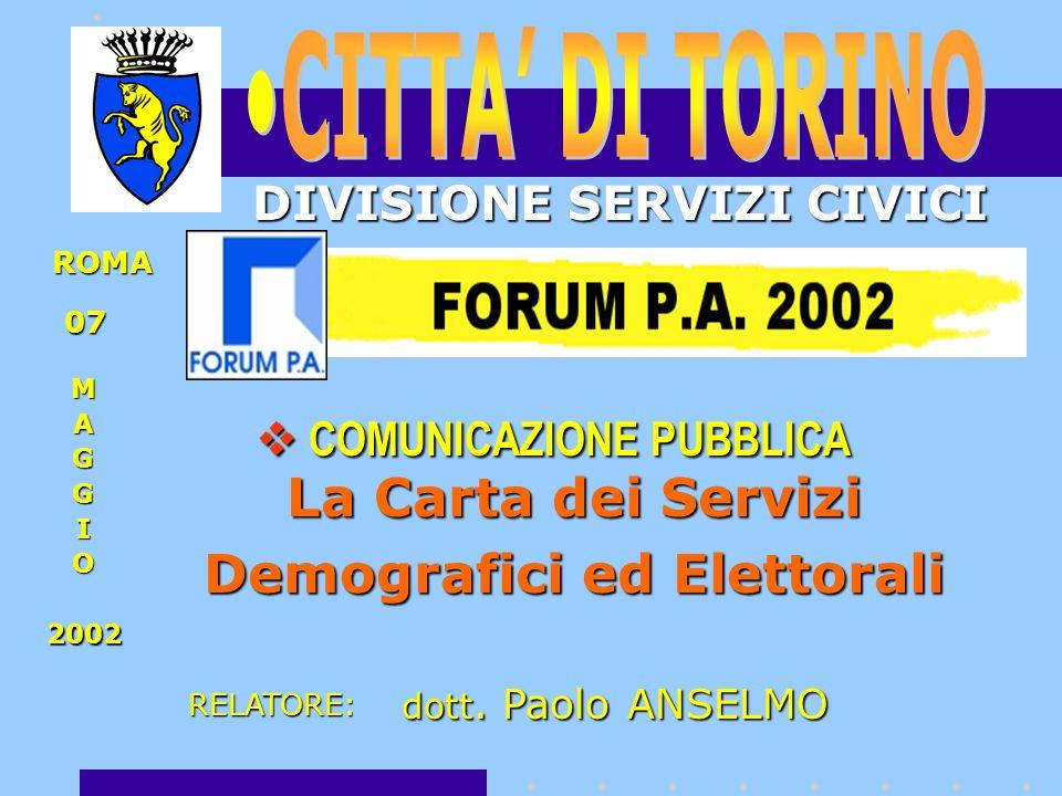 La Carta dei Servizi Demografici ed Elettorali