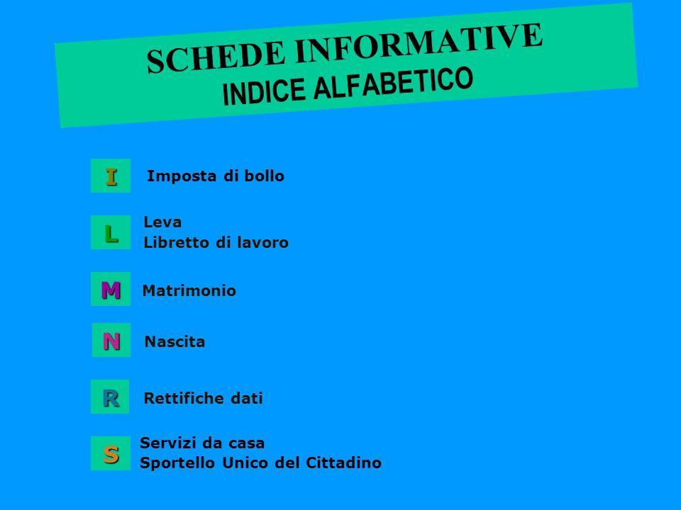SCHEDE INFORMATIVE INDICE ALFABETICO