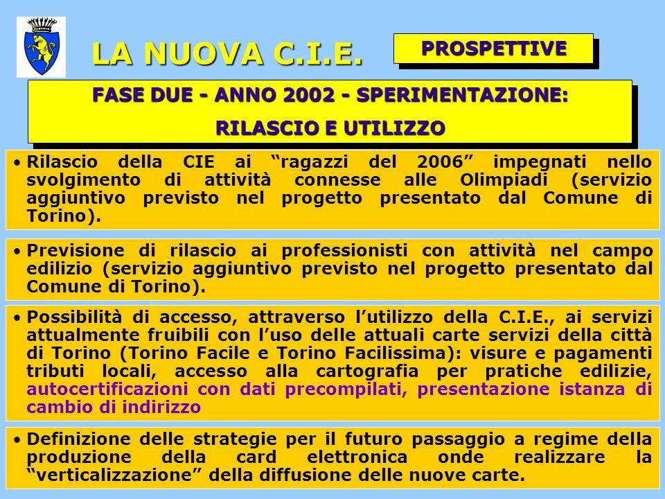 FASE DUE - ANNO 2002 - SPERIMENTAZIONE: