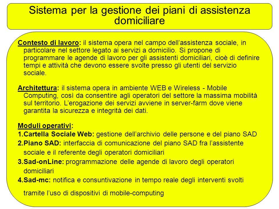 Sistema per la gestione dei piani di assistenza domiciliare