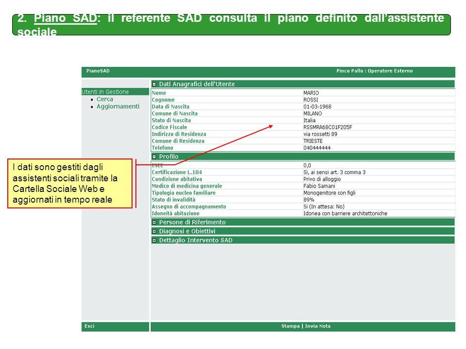 2. Piano SAD: il referente SAD consulta il piano definito dall'assistente sociale