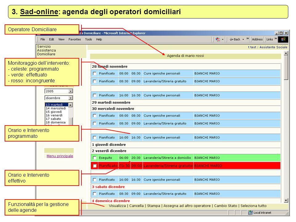 3. Sad-online: agenda degli operatori domiciliari
