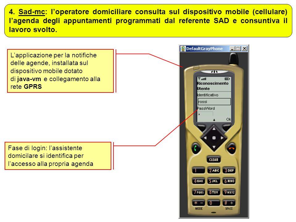 4. Sad-mc: l'operatore domiciliare consulta sul dispositivo mobile (cellulare) l'agenda degli appuntamenti programmati dal referente SAD e consuntiva il lavoro svolto.
