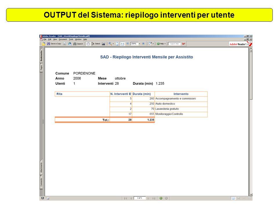 OUTPUT del Sistema: riepilogo interventi per utente